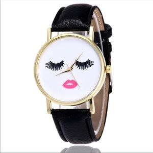Accessories - ✨HP✨NWT Eyelashes and Lips Watch Black Band 💋💕